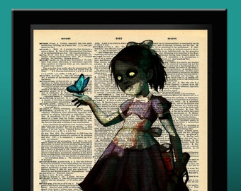 BioShock Inspired Little Sister Dictionary Print 8x11
