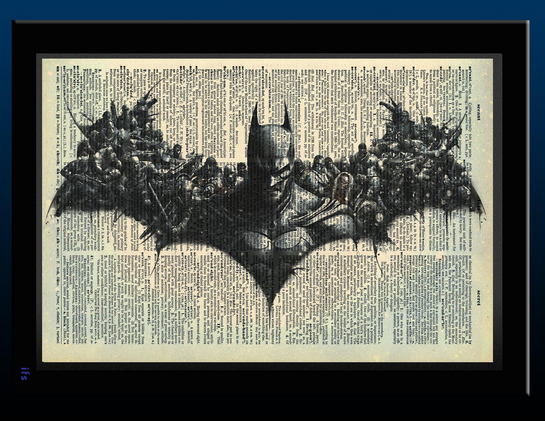 Batman Inspired Arkham Dictionary Print 8x11 Etsy