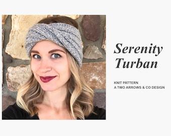 bb6dd847ffe5b Serenity Turban Pattern/ Knit Pattern/ Knit Turban Pattern