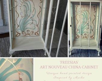 Freesias Art Nouveau China Cabinet