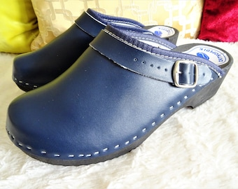 cc127ab663 Navy on the black sole Swedish clogs classic style / wood clogs / handmade  / mules / low heel shoes / scandinavian style / unisex