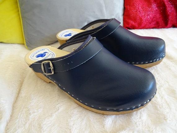 NAVY Blue Swedish clogs classic style