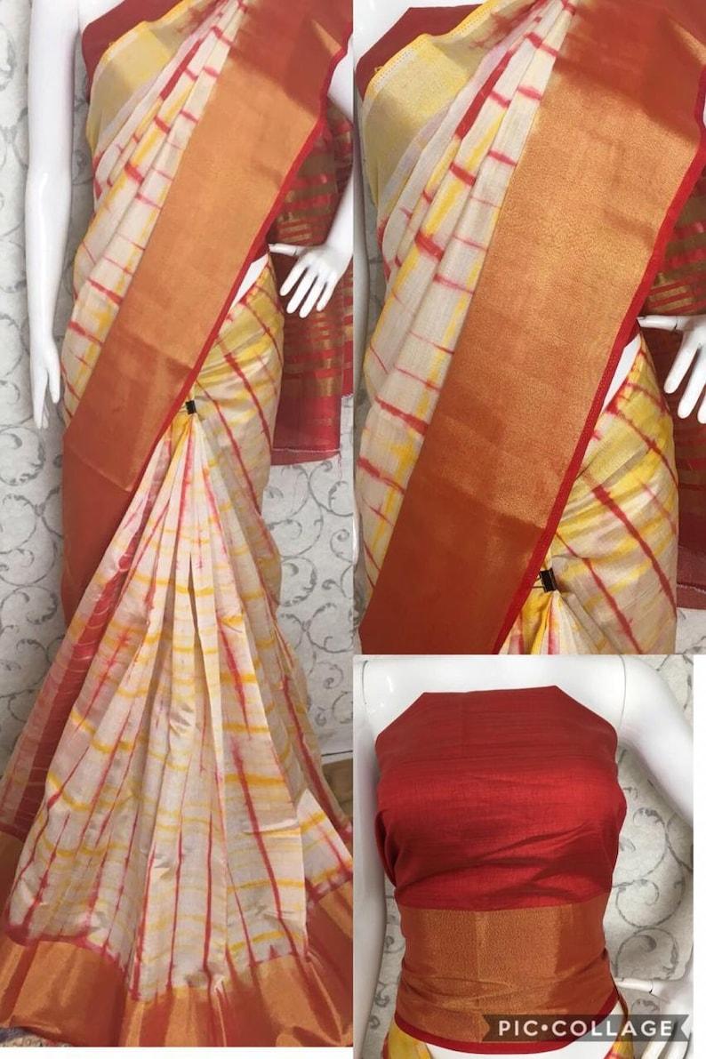 FREE SHIPPING/_Ethnic Multi Color Art Silk Jari Border Saree With Unstitched Blouse Traditional Wedding Sari Indian Women Saree