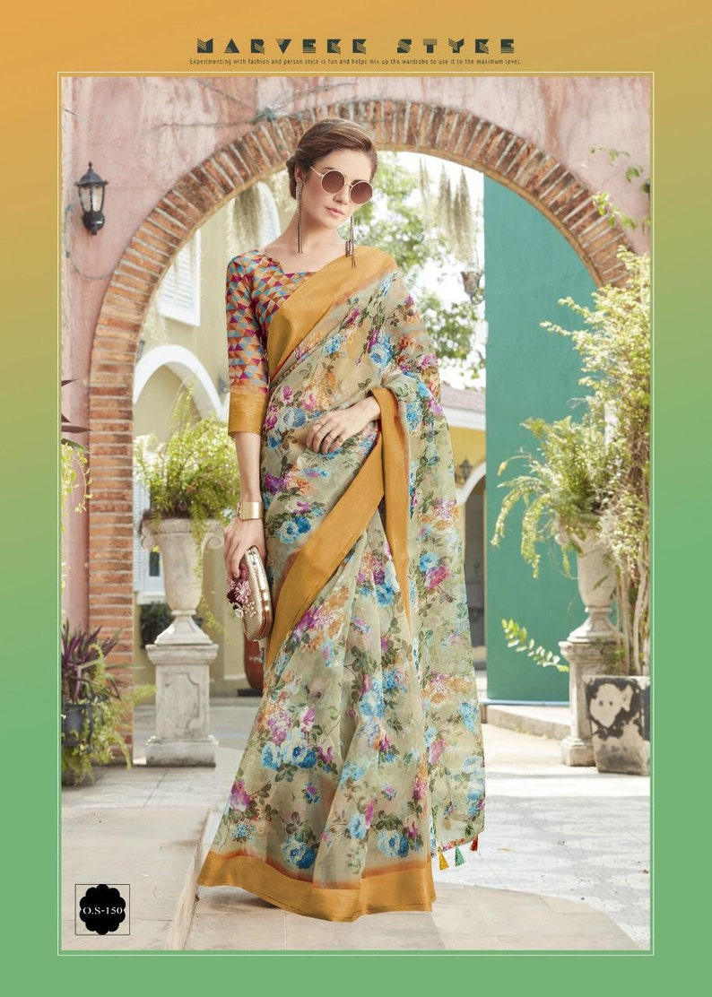 FREE SHIPPING/_Ethnic Multi Color Organza Silk Saree With Unstitched Blouse Traditional Wedding Wear Sari Indian Women Saree