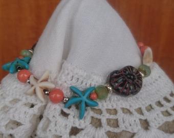 Swarovski pearls and starfish Bracelet