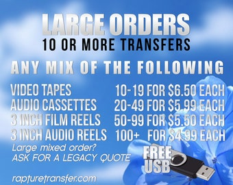 Large Order 10+ Video Transfers (You must pay for 10 or more transfers to get this discount. Click Item Details and read carefully)