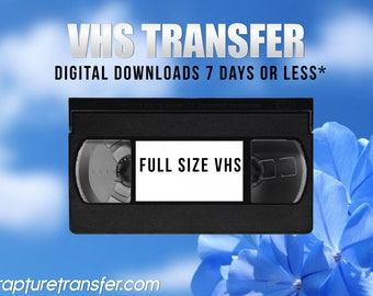 """Full Size VHS Tapes Transferred to Digital (Click Item Details/""""Learn More About This Item"""" and read carefully)"""