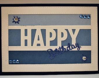 Handmade Card - HAPPY BIRTHDAY - Blank Inside