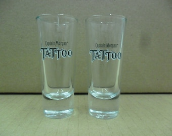 Set of 2 NEW Captain Morgan Rum Tattoo Black Logo Tall Shooter Double Shot Glasses