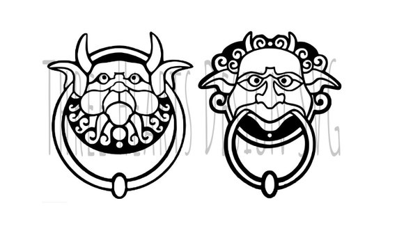 Labyrinth Door Knockers Svg Image Ready To Use Etsy - Labyrinth-security-door-chain