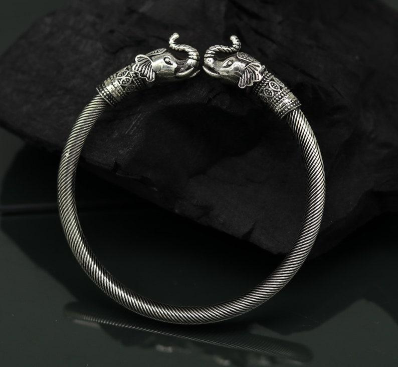 925 sterling silver handmade gorgeous vintage elephant design bangle bracelet kada unisex customized personalized hip-hop jewelry nssk27