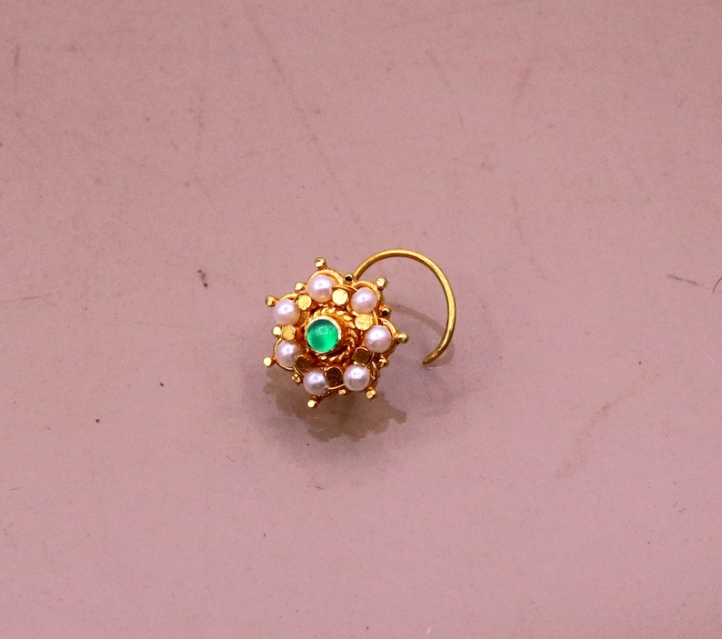 7 tiny pearl and green onyx stone fabulous 20kt yellow gold nose pin nose stud Indian vintage antique design handmade tribal jewelry gnp24