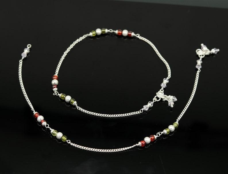 10.5 925 sterling silver handmade customized Cuban link chain ankle bracelet excellent beaded anklet tribal belly dance nank227 anklets