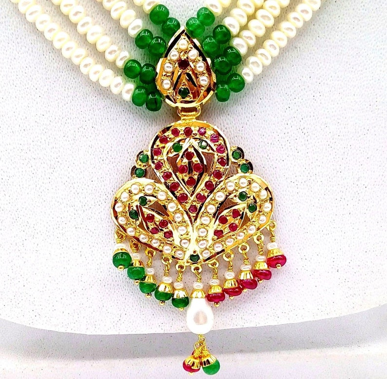 f8d7a987fe9 22ct 22k gold necklace set for Mother's day gift pearl ruby emerald pendant