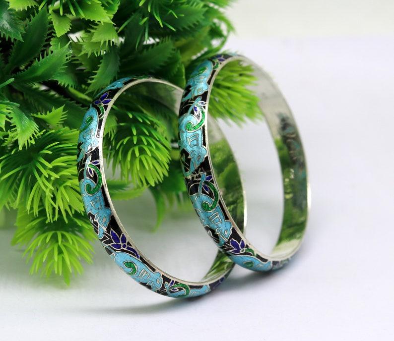 925 sterling silver handmade enamel elephant work bridesmaid bangle bracelet for girl/'s women/'s personalized gifting tribal jewelry nba84