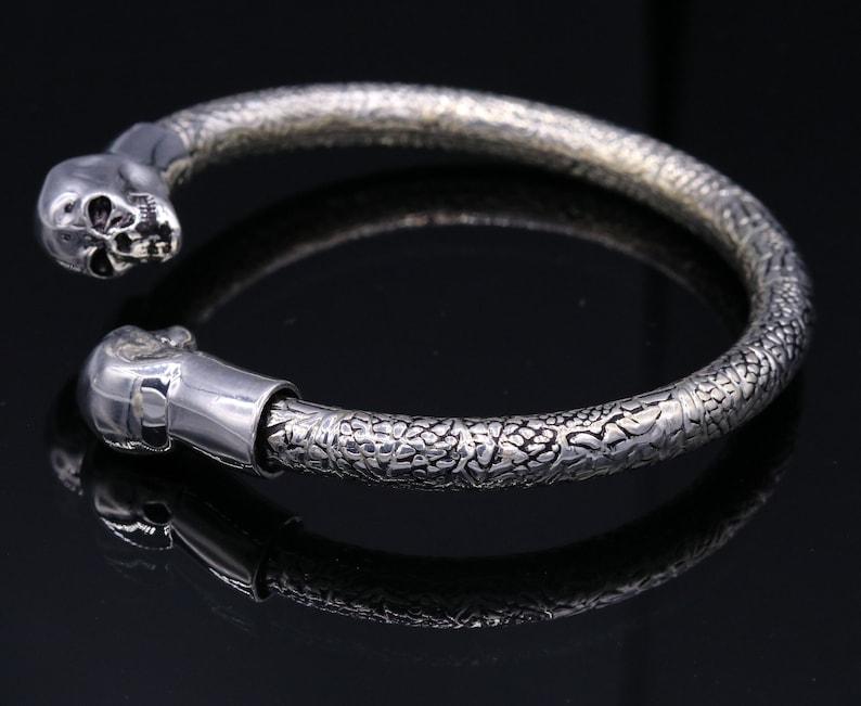 925 sterling silver handmade amazing skull design open face bangle bracelet kada gorgeous unisex gifting jewelry nsk54