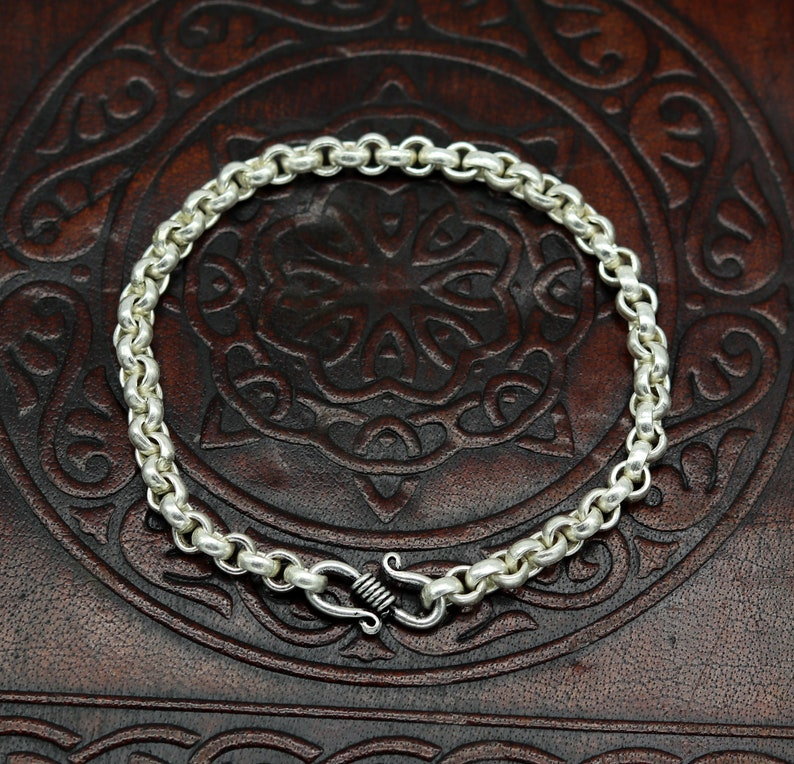 stylish link bracelet unisex gifting belly dance jewelry nsbr185 7.5 925 sterling silver handmade customized solid rolo chain bracelet