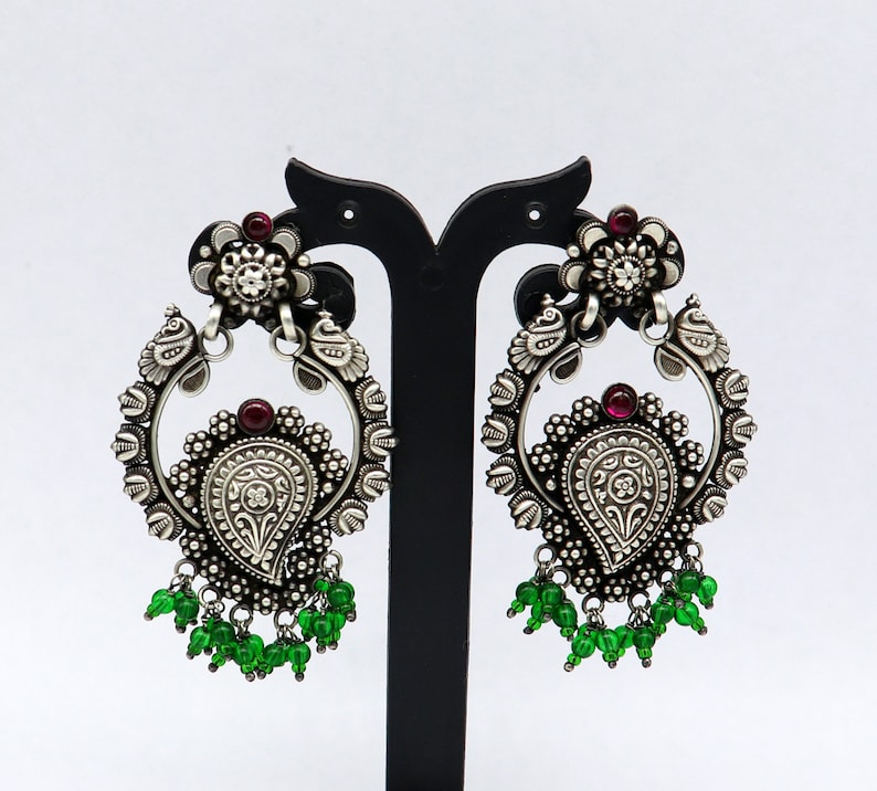 Vintage design New trendy unique stylish 925 sterling silver stud drop dangler earring with gorgeous hanging green beads drops ear506