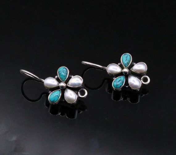 925 Sterling silver handmade fabulous Hoops earrings with gorgeous pearl and turquoise stone flower shape stylish jewelry from india s102