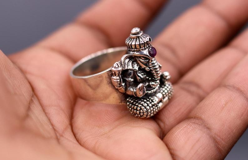 925 sterling silver handmade amazing lord Good ganesha sr76