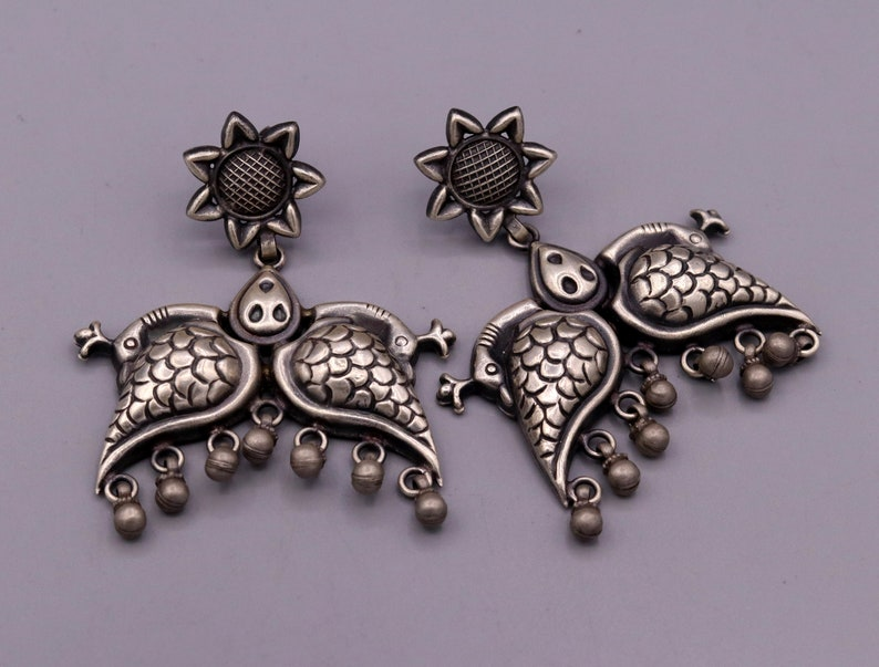 925 sterling silver Vintage antique style peacock Earrings with hanging bells stud earrings belly dance jewelry form girls women/'s s347
