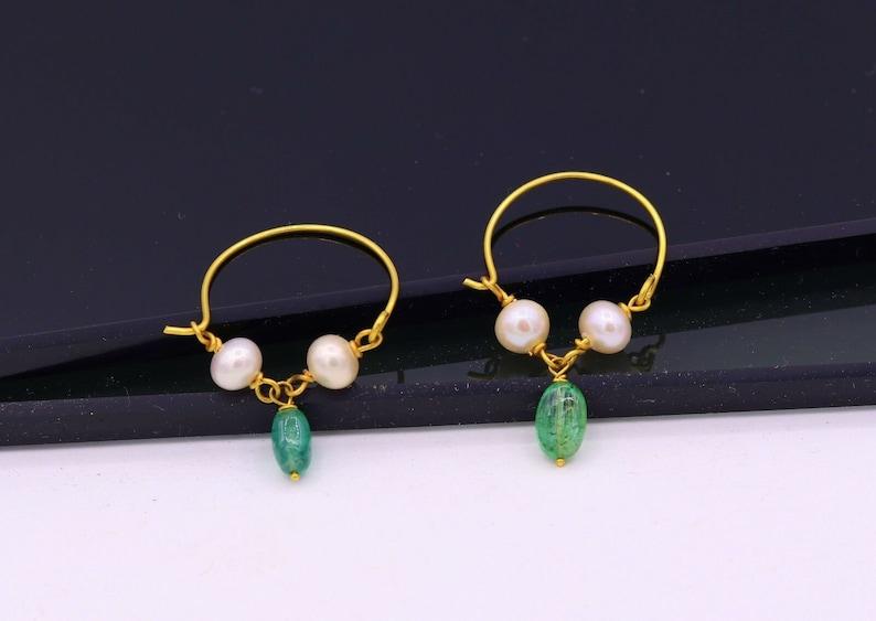 c50865d52 Vintage antique design handmade 18k yellow gold hoop earrings   Etsy