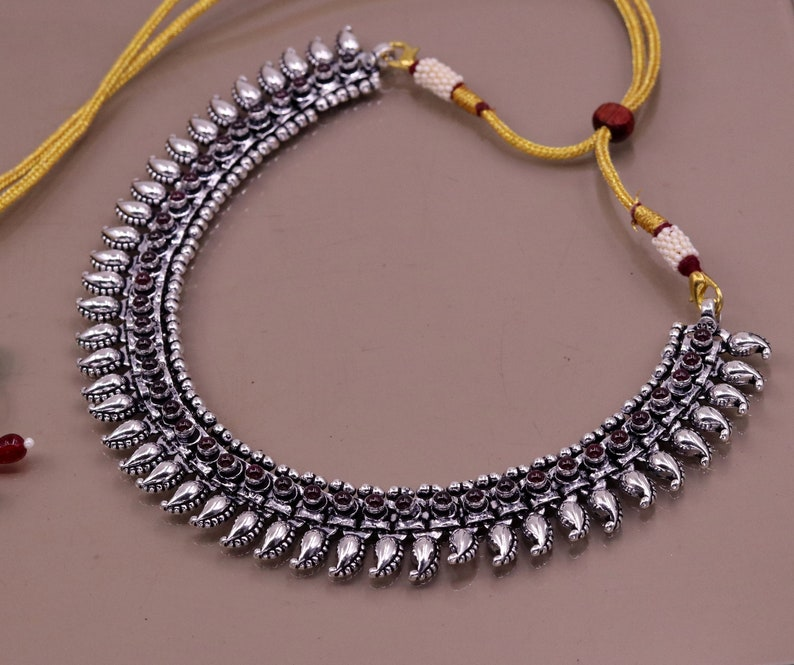 Handcrafted mango trendy 925 sterling silver ankle bracelet or necklace multipurpose tribal ethnic jewelry charm necklaceanklet ank112