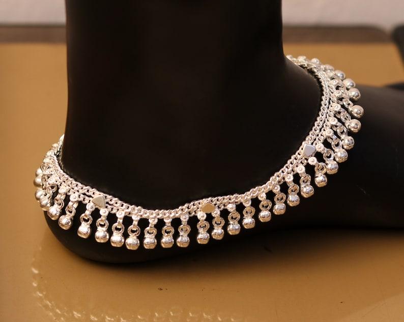 nice noisy hanging bells charm anklets for girls women/'s belly dance ank174 10.5 long handmade sterling silver gorgeous ankle bracelet