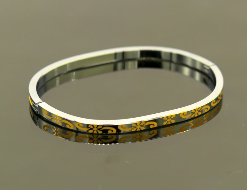 excellent customized gold polished silver personalized unisex gifting jewelry nssk220 Solid sterling silver gorgeous bangle bracelet kada