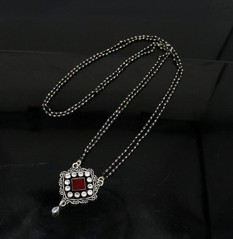 Pure 925 sterling silver customized vintage design red stone pendant with gorgeous black beaded chain necklace bridal mangalsutra set164