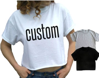 c0bce77b286d76 Cropped top CUSTOM Crop Tee Cropped t-shirt White crop top Gray cropped tee  Black crop top Crew Neck