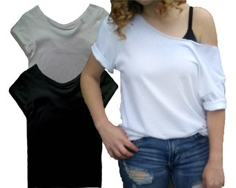 05c108e8 Slouchy top Slouchy Shirt T-shirt Tshirt Tee White Gray Black Slouchy Plain Off  shoulder Plus size off shoulder
