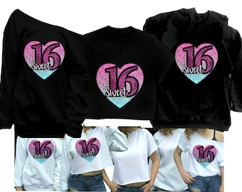 Sweet 16 Shirt 16th Birthday Sixteen Party T Cute Womens Plus Too