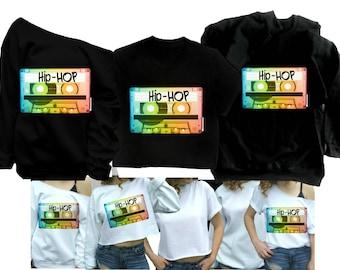 06b7f3333 90s HIP HOP Shirt Women 90s sweatshirt 1990s Party Mixtape shirt Mix Tape  R&B off shoulder Sweatshirt White Black Gray Plus sizes available.