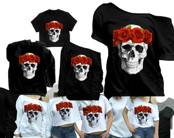 87771d9e158 Skull shirts for women Gothic clothing Skull with crown t-shirt goth t  shirt red roses goth shirts Sweatshirt crop top Plus and kids too!