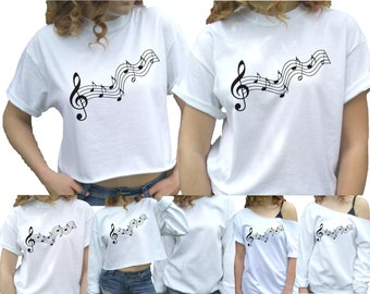 5a38f3a8d Music t-shirt Treble clef Music notes shirt Women s clothing Sweatshirt tee  Musical t-shirt Plus sizes unisex kids available too.