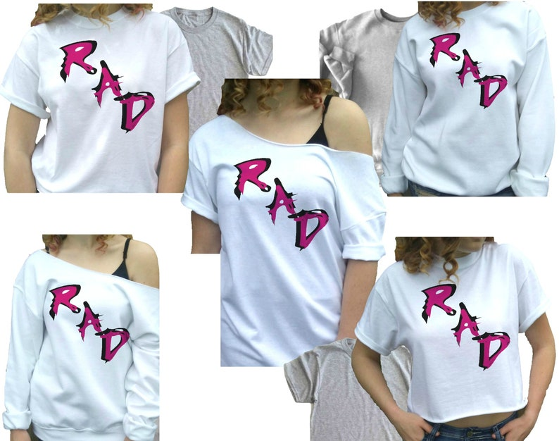 bcbd916af6ef2f Rad t-shirt Women s 80s clothing 80s shirt Costume party