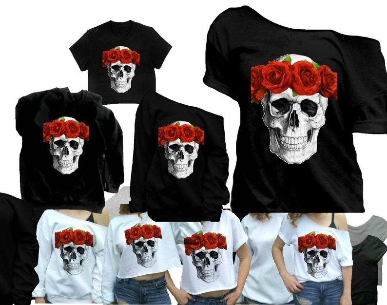 6de5373787 Skull shirts for women Gothic clothing Skull with crown