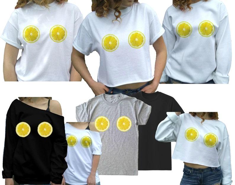 0d008348cff9 Lemon shirt Lemon Boob T-shirt Cute lemon shirt summer | Etsy
