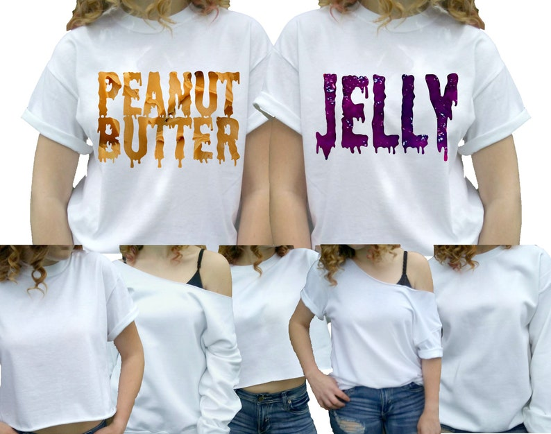 Peanut Butter And Jelly Crop Hoodies Hoody Top Cropped Matching BFF/'s Set Bestie