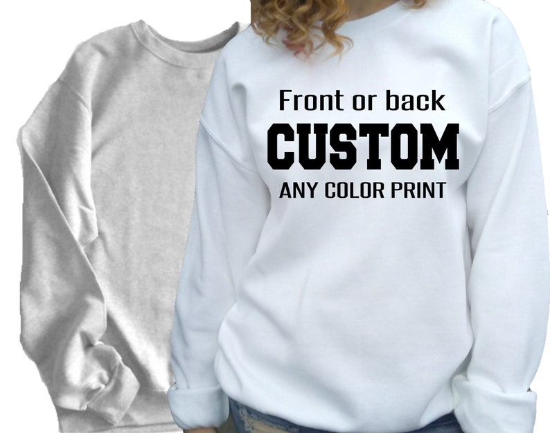 Custom Personalized Design or Text Hoodie Black White Grey Red Blue All Sizes