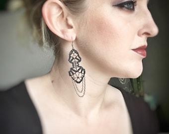 Lace earrings // Elemental Cascade // Black lace, statement earrings