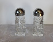 Vintage Star of David Pattern Cut Glass Salt Pepper Shakers Anchor Hocking FREE DOMESTIC SHIPPING