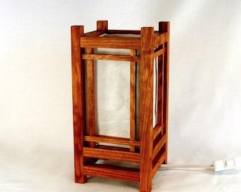 craftsman style cherry wood desk lamp