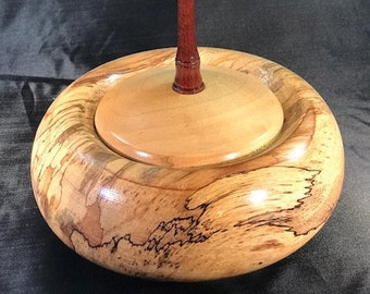 Wood Turned Handmade Covered Bowl, Pecan, Maple, Bloodwood