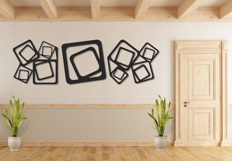 c3221dca79 Set of 3 Metal wall art Square Shape metal wall hanging & | Etsy