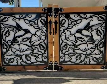 Hummingbird Wood Frame Metal Gates   Pedestrian Metal Entry Gates & Garden Gates