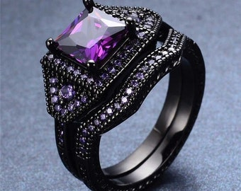 womens size 9 18k black gold filled purple amethyst wedding ring engagement ring