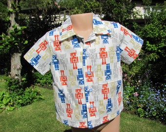 Boys Short Sleeved Shirt,Cream, Multi-coloured Robots, Age 3-4 years, New, Handmade
