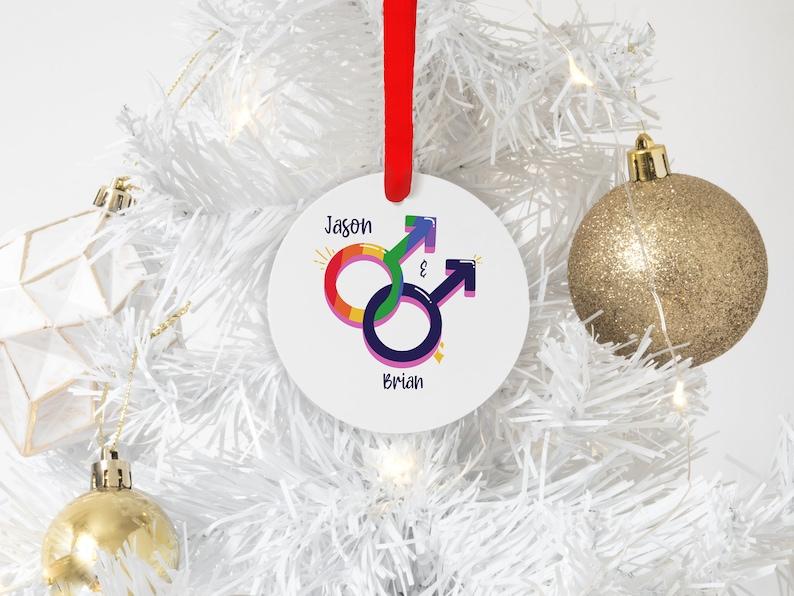 Lgbt Ornaments Husband Red Ribbon Ornament Personalized Gay Christmas Ornaments Boyfriend Aluminum Ornament